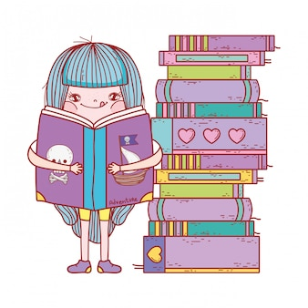 Glückliche kleine mädchen liest bücher