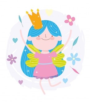 Glückliche kleine märchenprinzessin märchenkarikatur mit krone und blumen