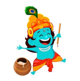 Glückliche krishna janmashtami-grußkarte