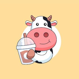Glückliche kuh, die milchteegetränktasse tiermaskottchenkarikatur-vektorillustration hält
