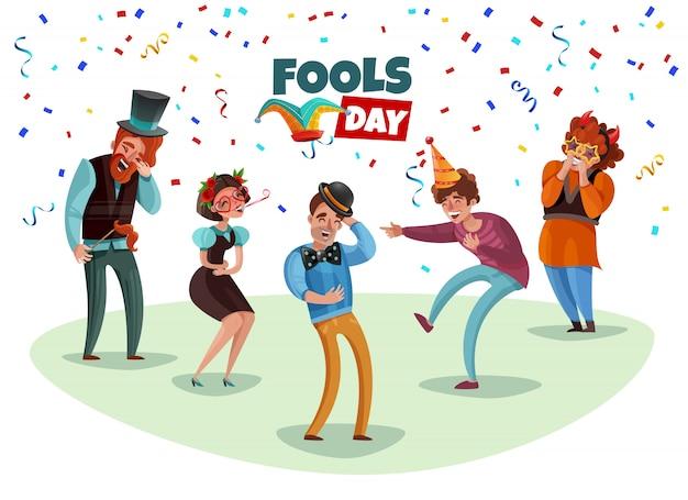 Glückliche lachende leute, die april-narren-tageskarikatur feiern