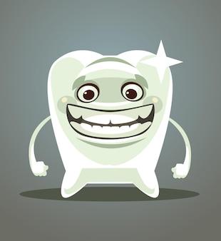Glückliche lächelnde flache karikaturillustration des weißen zahnes