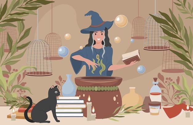 Glückliche lächelnde frau in hexenhut und blauem kleid, die sich vorbereiten