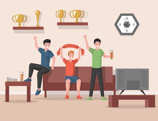 Glückliche lächelnde freunde, die match im fernsehen ansehen und favoriten unterstützen