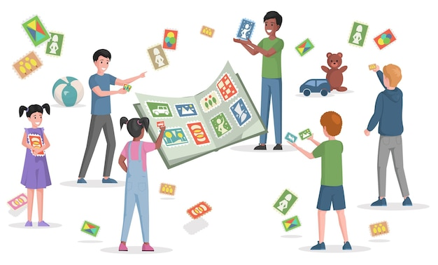 Glückliche lächelnde kinder, die mit briefmarken spielen, kleben aufkleber ein