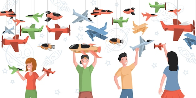 Glückliche lächelnde kinder, die mit flacher illustration des spielzeugflugzeugvektors spielen