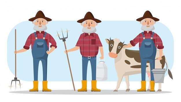 Glückliche landwirtfamilienzeichentrickfilm-figur im organischen ländlichen bauernhof