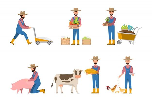 Glückliche landwirtkarikatur in vielen charakteren eingestellt