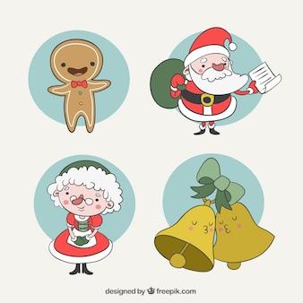 Glückliche lebkuchenmann mit anderen weihnachts zeichen