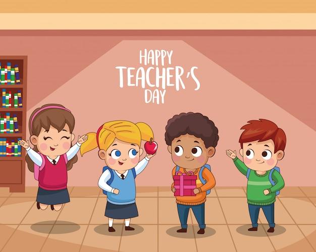 Glückliche lehrertageskarte mit schülern in der schule