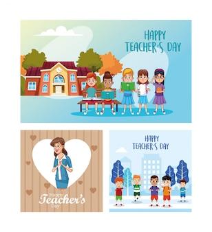 Glückliche lehrertageskarte mit schülern und lehrerszene