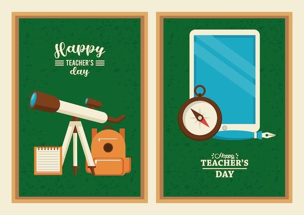 Glückliche lehrertageskarte mit tablet e-learning und tafelbedarf.