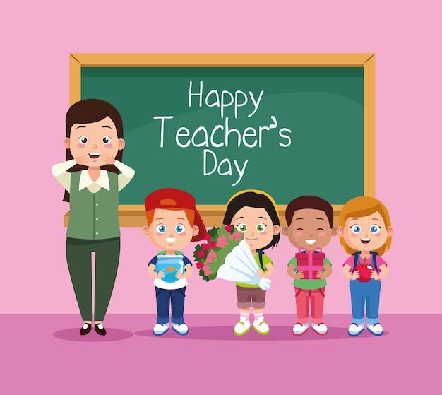 Glückliche lehrertageszene mit lehrer und kindern im klassenzimmer.