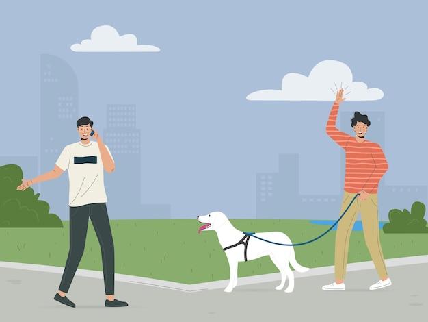 Glückliche leute, die in die flache illustration des grünen öko-stadtparks gehen