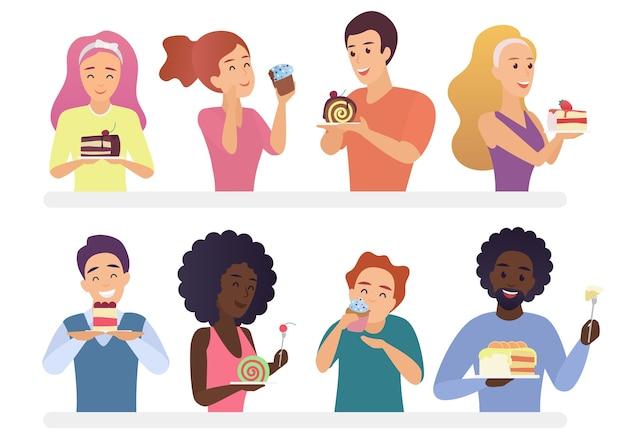 Glückliche leute, die kuchen und torten essen essen. naschkatze mann und frau karikatur