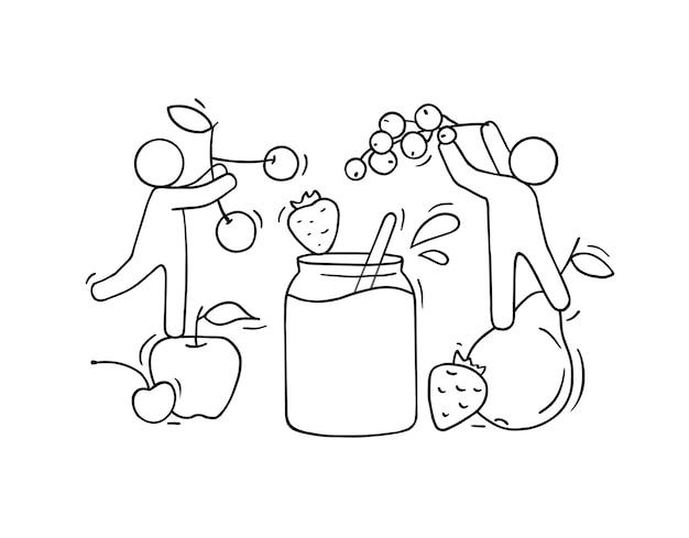 Glückliche leute, die marmelade mit frischen früchten kochen. kritzeln sie niedliche illustration über das gesunde essen. isoliert über vegetarische natürliche ernährung.