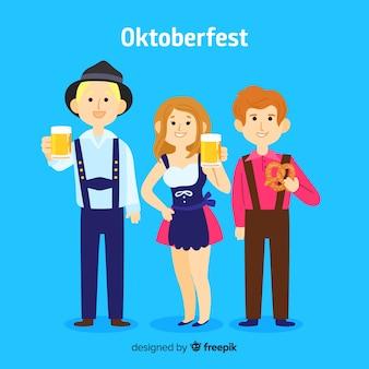 Glückliche leute, die oktoberfest mit flachem design feiern