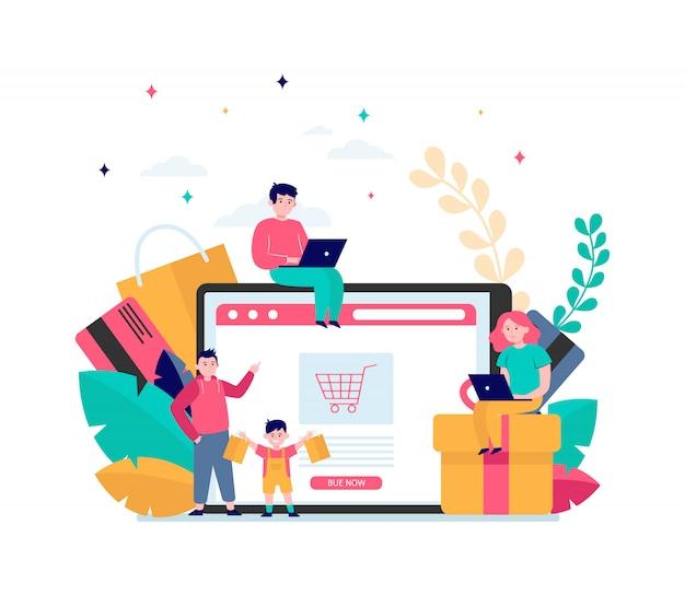 Glückliche leute, die online einkaufen