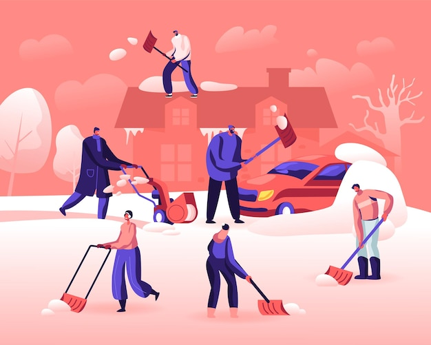 Glückliche leute, die schnee von der straße schaufeln und entfernen. karikatur flache illustration