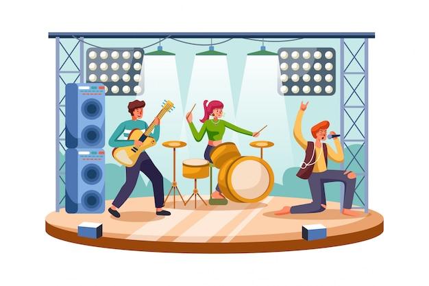 Glückliche leute, die spaß am rockkonzert haben