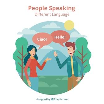 Glückliche leute, die verschiedene sprachen mit flachem design sprechen