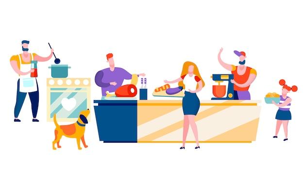Glückliche leute, die zu hause familien-freizeit kochen