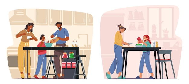 Glückliche leute, die zu hause kochen. männer, frauen und kinder in der küche mit verschiedenen geräten für die zubereitung von speisen, freizeit für die familie, erholung am wochenende, zubereitung von speisen. cartoon-vektor-illustration