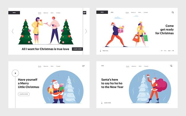 Glückliche leute feiern weihnachten landing page set