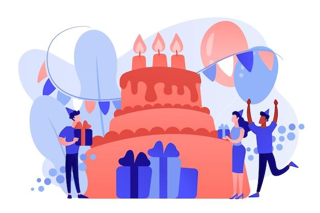 Glückliche leute mit geschenken, die geburtstag am riesigen kuchen feiern. geburtstagsfeier liefert, geburtstagsfeiereinladungen, geburtstagsplanungskonzept. isolierte illustration des rosa korallenblauvektors