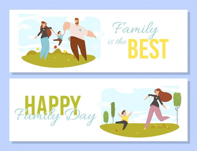 Glückliche leute mit kinderdraußen tätigkeits-familie
