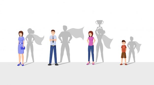 Glückliche leute mit superheldschatten