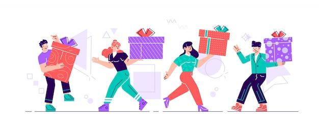 Glückliche leute tragen geschenkboxen, die in reihe gehen. männliche und weibliche charaktere beeilen sich für großen weihnachtsverkauf. männer frauen kaufen geschenke für familie und freunde an feiertagen. karikatur flache illustration