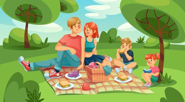 Glückliche liebende familienkinder beim picknick im grünen park