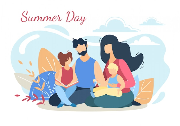 Glückliche liebevolle familie auf picknick an der sommertagesnatur
