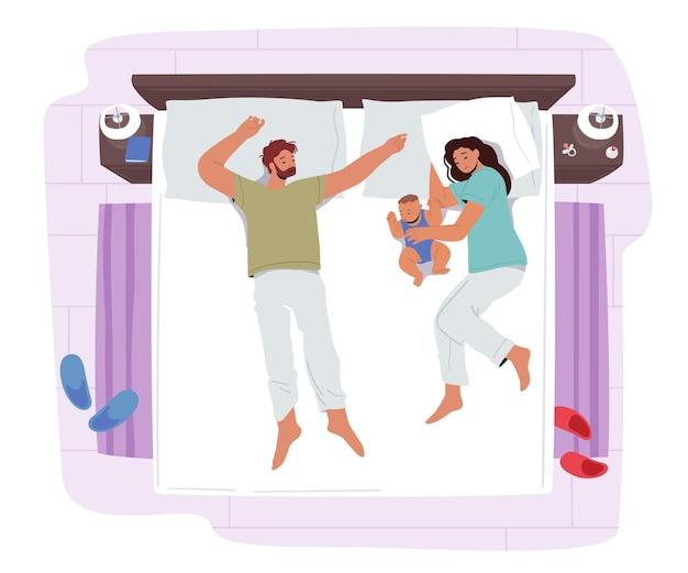 Glückliche liebevolle familienmutter, vater und neugeborenes kind, die auf einem bett schlafen. mama, papa und kind charaktere nachttraum