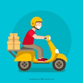 Glückliche lieferwagen tragen kisten
