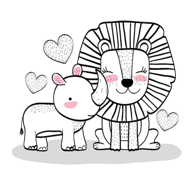 Glückliche löwe- und nashorntiere mit herzen