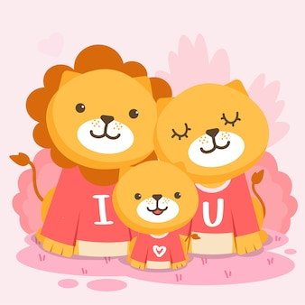 Glückliche löwenfamilie, die zusammen mit dem text aufwirft, den ich dich liebe