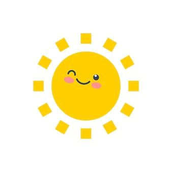 Glückliche lustige lächelnsonne. nettes sonnenscheinkindergesicht. glücklicher gelber aufkleber. sonniger charakter des sommerkarikaturlächelns.