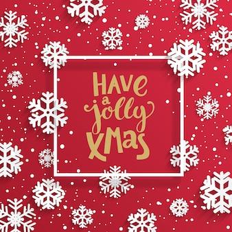 Glückliche lustige weihnachtskarte mit schneeflocken.