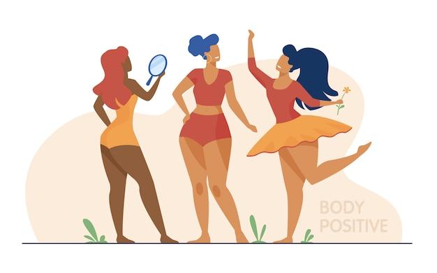 Glückliche mädchen bewundern ihre körper flache illustration