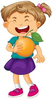 Glückliche mädchen-cartoon-figur, die eine orange hält