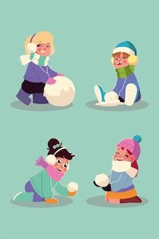 Glückliche mädchen, die mit den schneebällen in der wintersaisonvektorillustration spielen