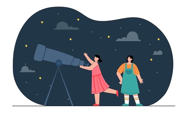 Glückliche mädchen, die sterne durch teleskop betrachten. weibliche leute, die flache illustration der astronomie studieren