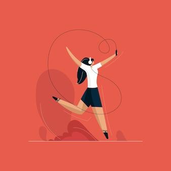 Glückliche mädchen tanzende illustration