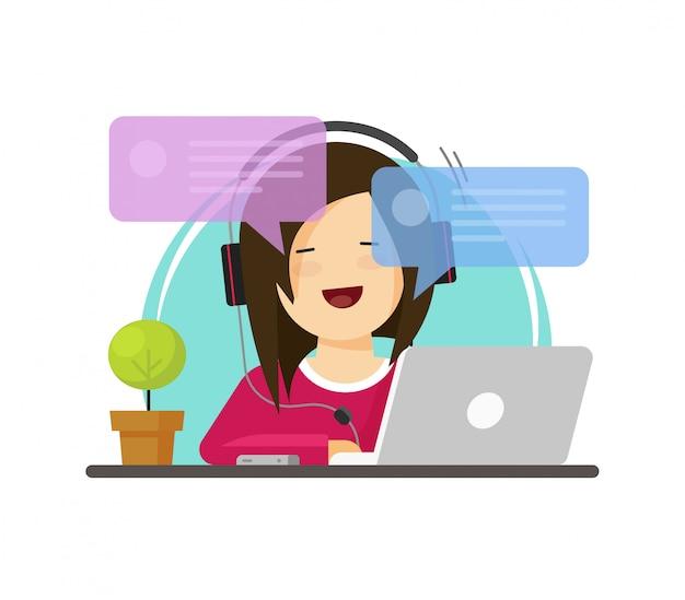 Glückliche mädchenperson, die an computer auf arbeitsschreibtisch arbeitet und on-line-gussansichtvektor in der flachen karikaturart plaudert