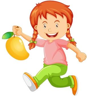 Glückliche mädchenzeichentrickfilm-figur, die eine mango hält