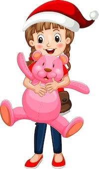 Glückliche mädchenzeichentrickfilm-figur, die einen teddybären hält