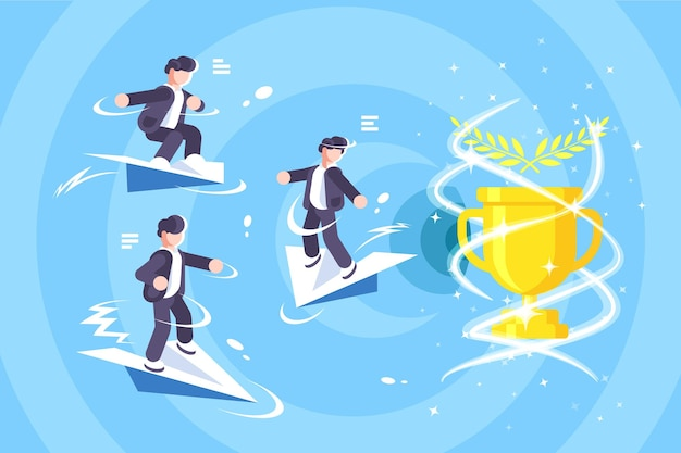 Glückliche männer, die hoch auf papierflugzeugillustration fliegen
