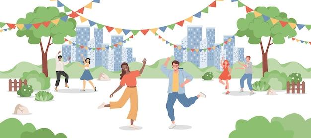 Glückliche männer und frauen, die an stadtparkillustration tanzen